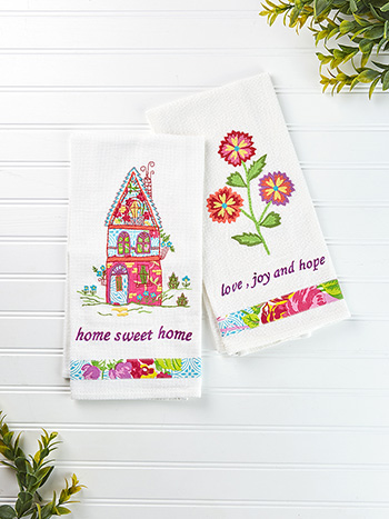 Fiesta Garden Embroidery Tea Towel Set of 2