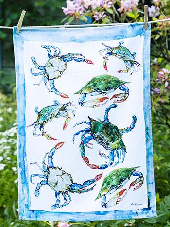 Blue Crabs Tea Towel