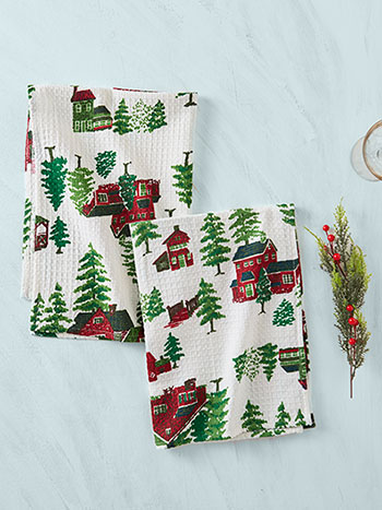 Christmas Village Tea Towel Set of 2