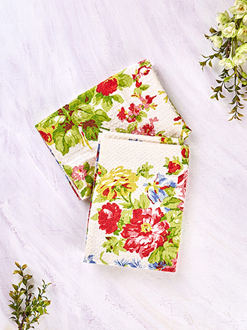 Cottage Rose Honeycomb Tea Towel Set of 2