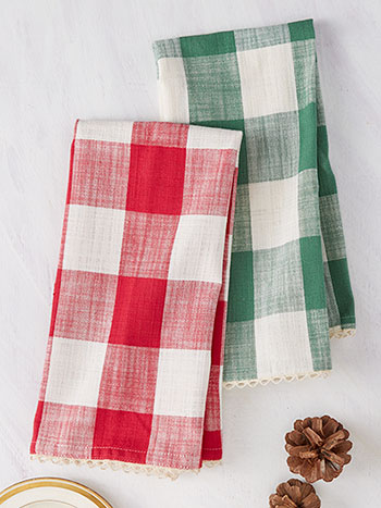 Cottage Check Tea Towel S/2