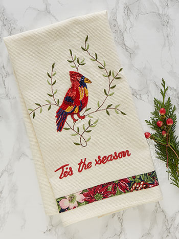 Cardinal's First Frost Embroidered Tea Towel