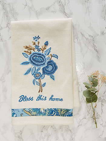 Delft Embroidered Tea Towel