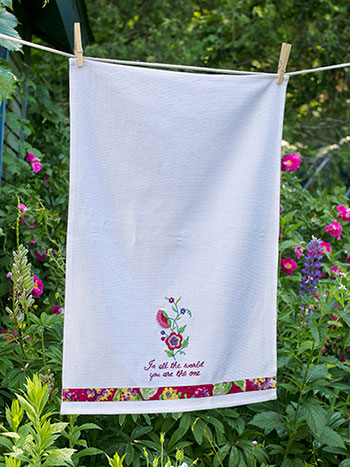 Garden Embroidered Tea Towel