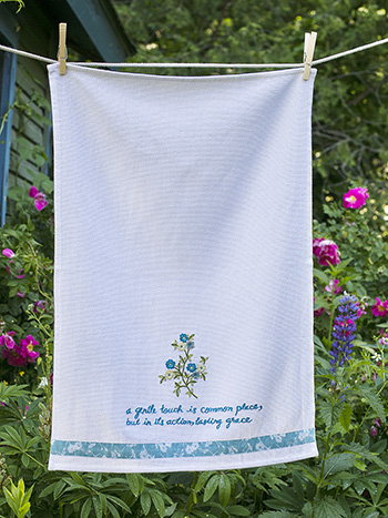Hidden Garden Embroidered Tea Towel