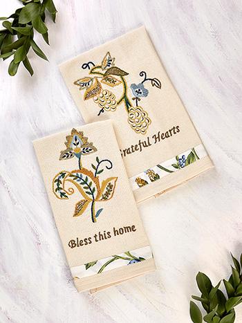Jacobean Embroidered Tea Towel Set of 2