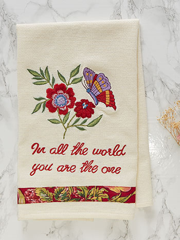 Mariposa Embroidered Tea Towel