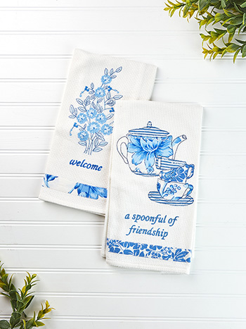 Provence Tea Party Embroidery Tea Towel Set of 2