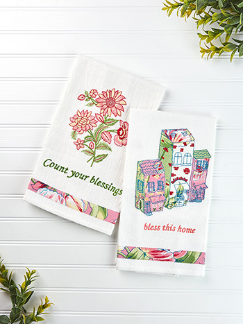 Spring Bouquet Village Embroidery Tea Towel Set of 2