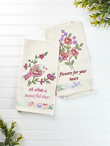 Tea Rose Embroidery Tea Towel Set of 2