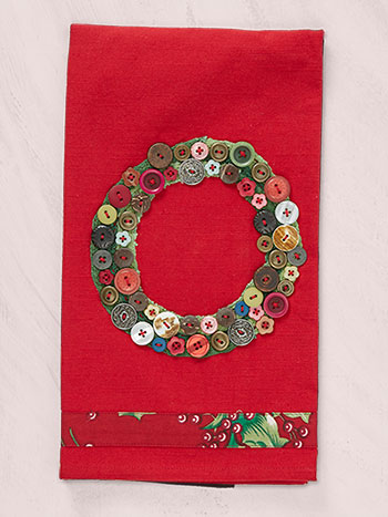 Wreath Embroidered Tea Towel