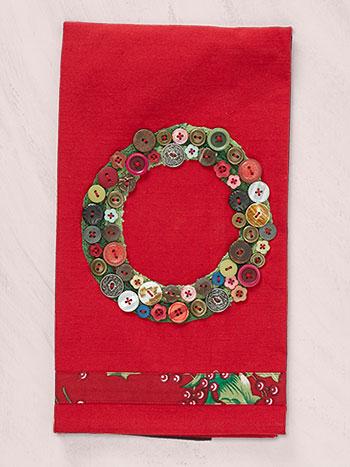 Wreath Embroidered Tea Towel