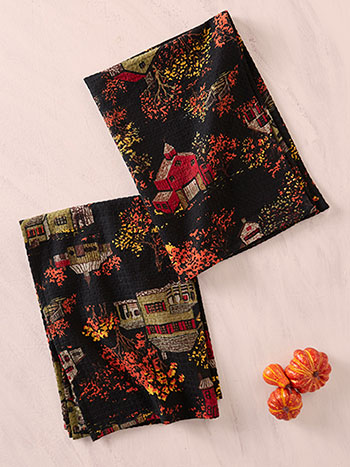 Halloween Village Tea Towel Set of 2