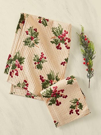 Holly Berry Tea Towel Set of 2
