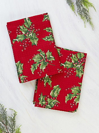 Holly Tea Towel Set of 2