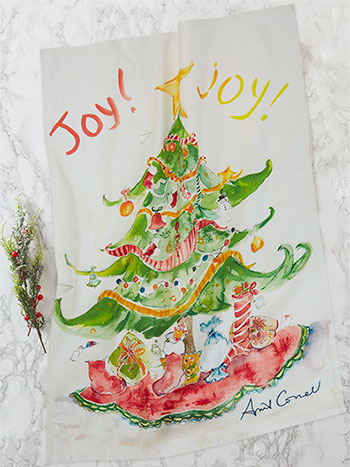 Joy Joy Watercolor Tea Towel