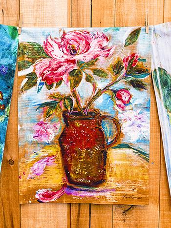 Still Life Watercolor Tea Towel