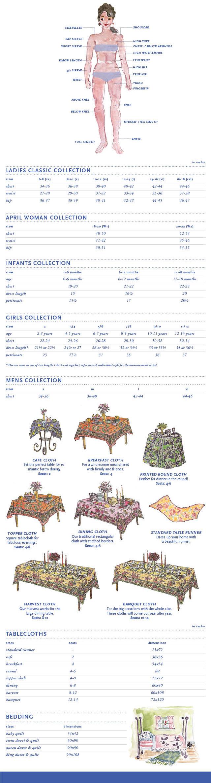 April Cornell's Size Guide