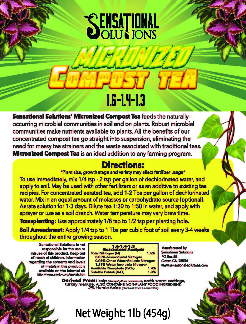Sensational Solutions Micronized Compost Tea Product Label