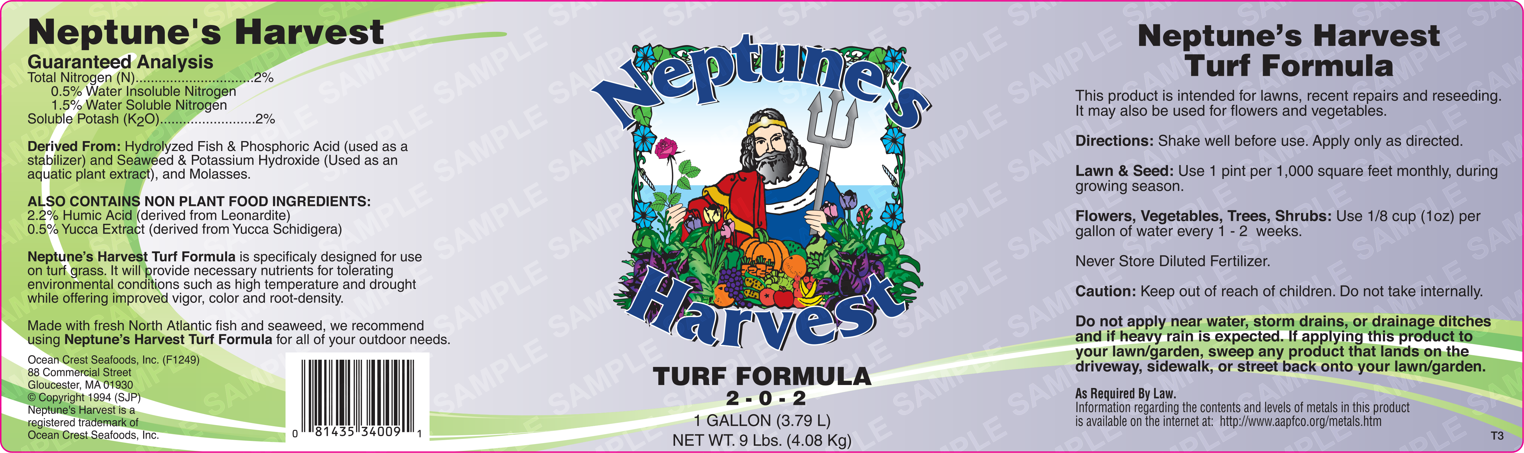 Neptune's Harvest Turf Formula Product Label
