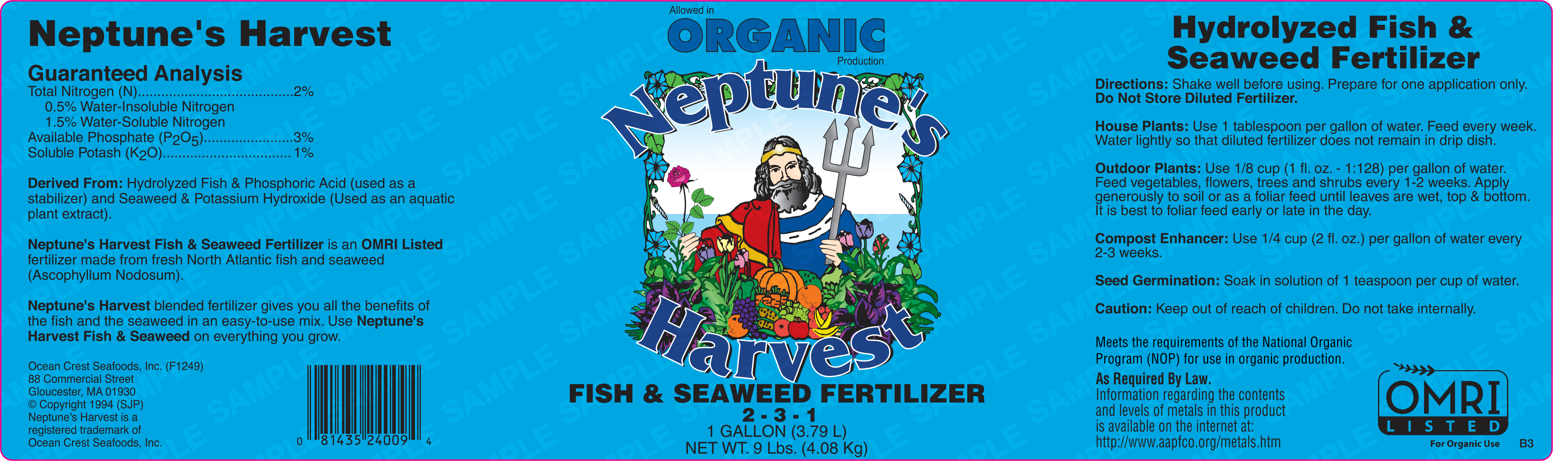 Neptune's Harvest Fish & Seaweed Fertilizer Product Label
