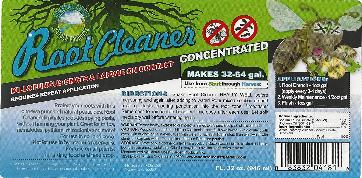 Root Cleaner Product Label