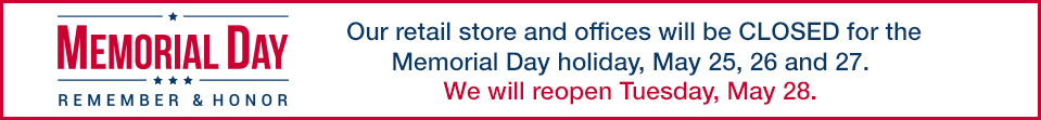 Special Shipping Notice for Memorial Day Week