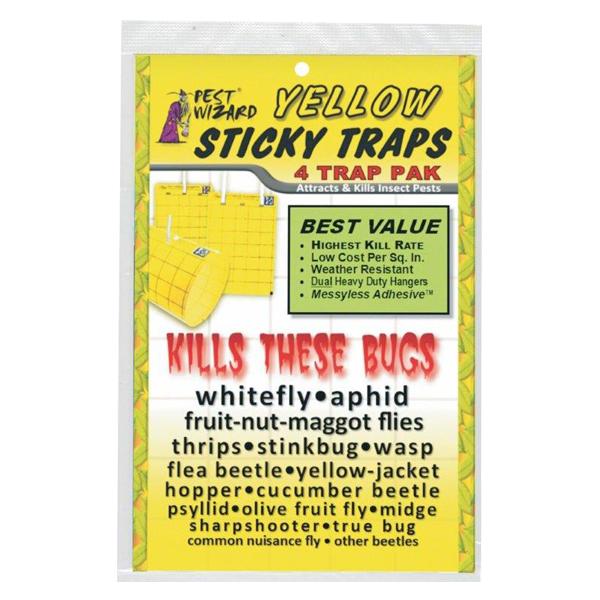 "Large Yellow Sticky Traps, 4 Pk - 5.5"" x 8"""