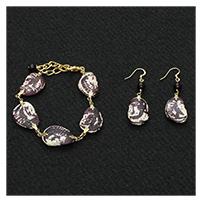 Christmas Lima Bean Bracelet & Earrings
