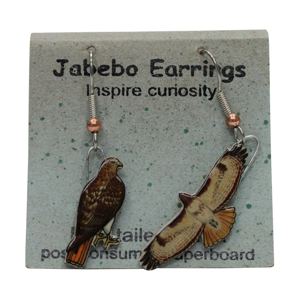Red-Tailed Hawk Jabebo Earrings