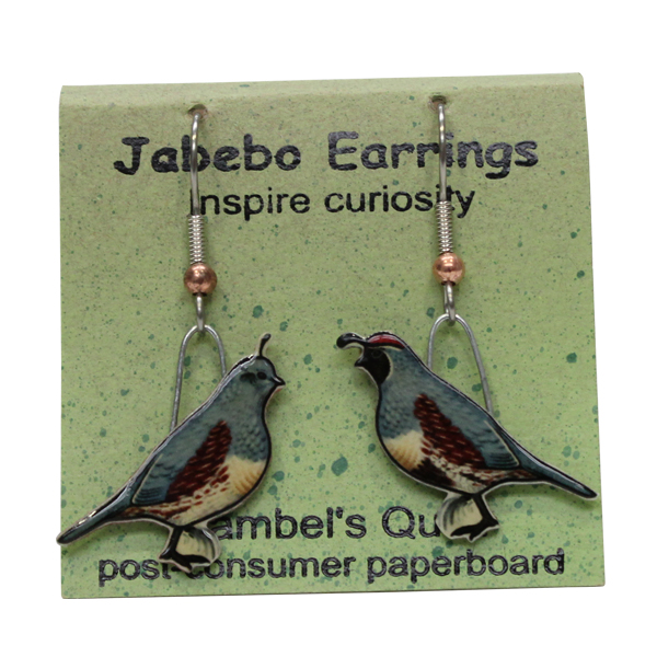 Gambel's Quail Jabebo Earrings