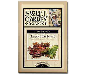 Sweet Garden Organics Seeds - Red Salad Bowl Lettuce