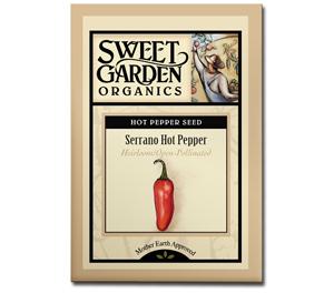 Sweet Garden Organics Seeds - Serrano Hot Pepper