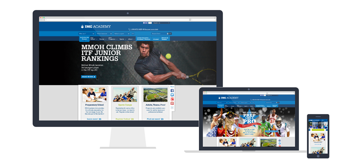 IMG Academy Website in different formats