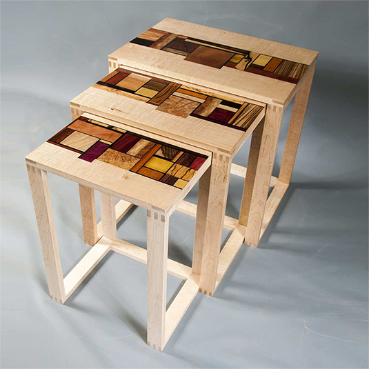 Maryland custom made nesting tables furniture from Mosart Fine Art Furniture