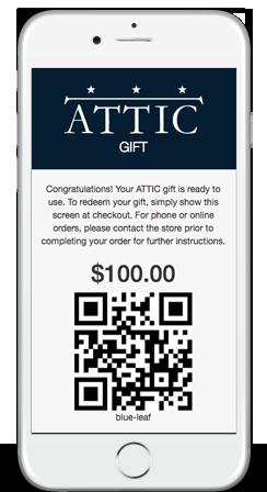 ATTIC DC Gift Card Certificate