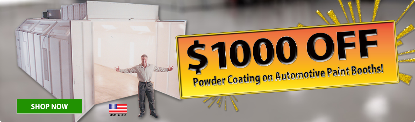 $1,000 Off Powder Coating on Automotive Booths!