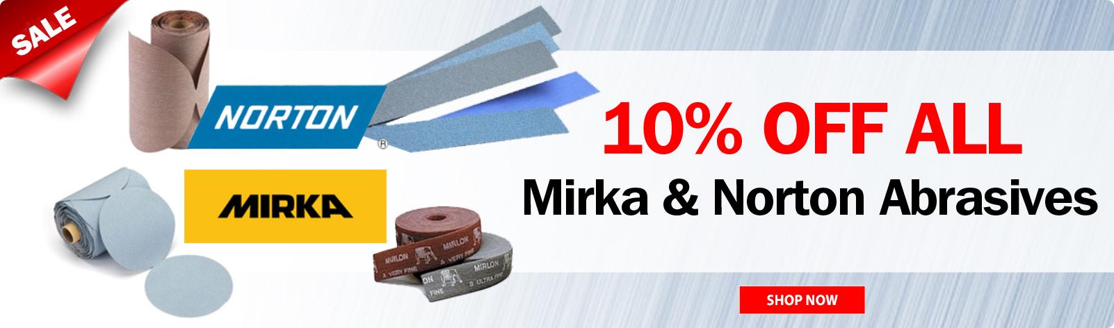 10% Off Norton-Mirka Abrasives!