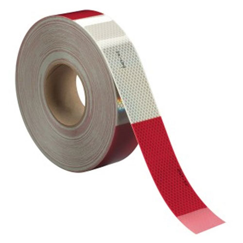 """3M Diamond Grade Conspicuity Marking 983-326 ES, alternating six-inch red and white bands, 2""""x50 yards, perforated into 12"""" strips - 31031"""
