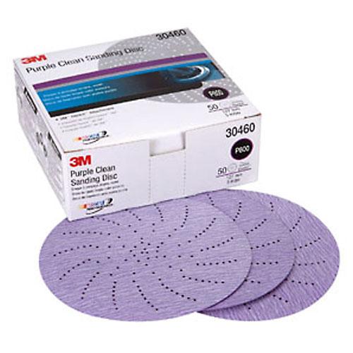 "3M Purple 5"" Clean Sanding Hookit Disc, 50/box"
