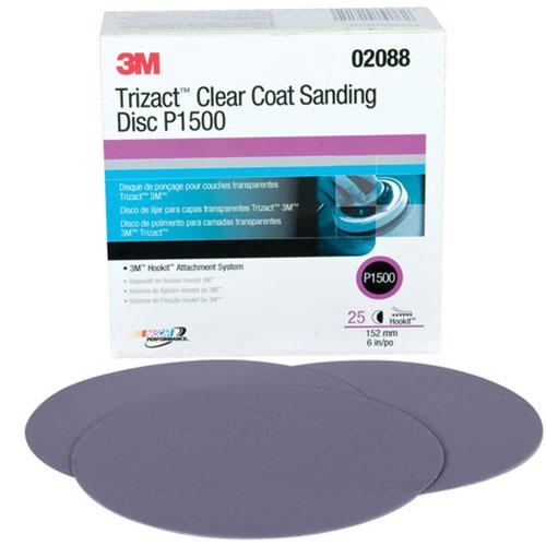 """3M Trizact Hookit Clear Coat 6"""" Sanding Discs p1500 Grit - 02088"""