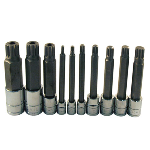 10 Pc. Extra Long Triple Square Spline Bit Socket Set - 13781