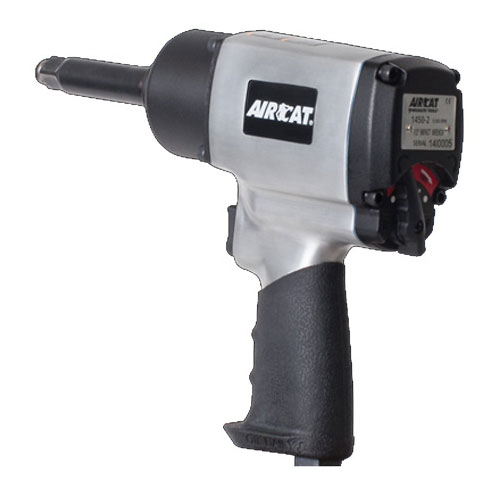 """AIRCAT 1/2"""" x 2"""" Extension Brushed Aluminum Impact Wrench; Twin Hammer - 1450-2"""