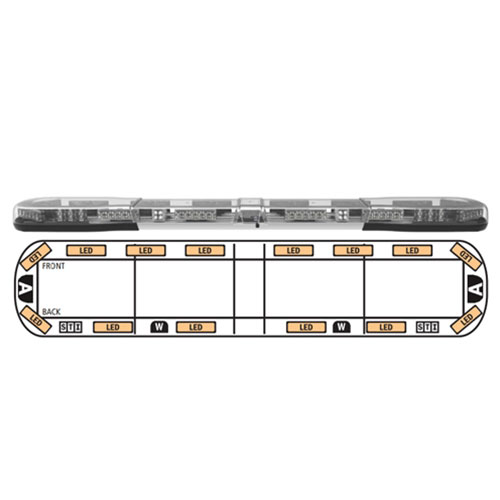"""ECCO Axios 60"""" Lightbar, 14 LEDs, 2 Rear,  2 Alley, 2 STI Lights - 14-00003-E"""