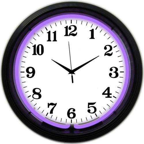 Neonetics Black Rim Purple Standard Neon Clock