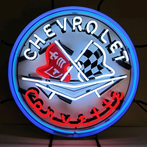 Neonetics Corvette Flags Neon Sign with Blue Outer Ring - 5CORBL