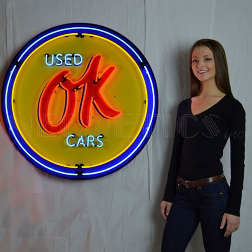 """Neonetics OK Used Cars 36"""" Neon Sign in Metal Can - 9CHVOK"""