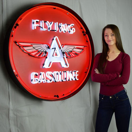 """Neonetics Flying A Gasoline 36"""" Neon Sign in Metal Can - 9GSFLY"""