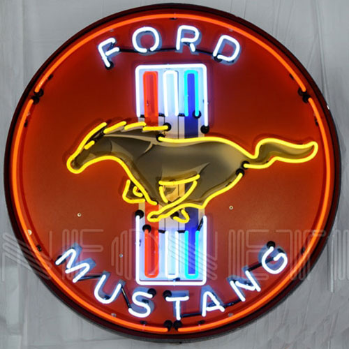 "Neonetics Ford Mustang Red 36"" Neon Sign in Metal Can - 9MUSTB"