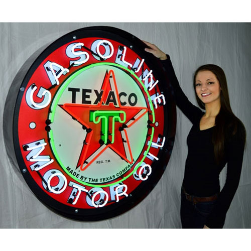 "Neonetics Texaco Motor Oil 36"" Neon Sign in Metal Can - 9TXOIL"